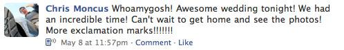 facebook status after christinas wedding