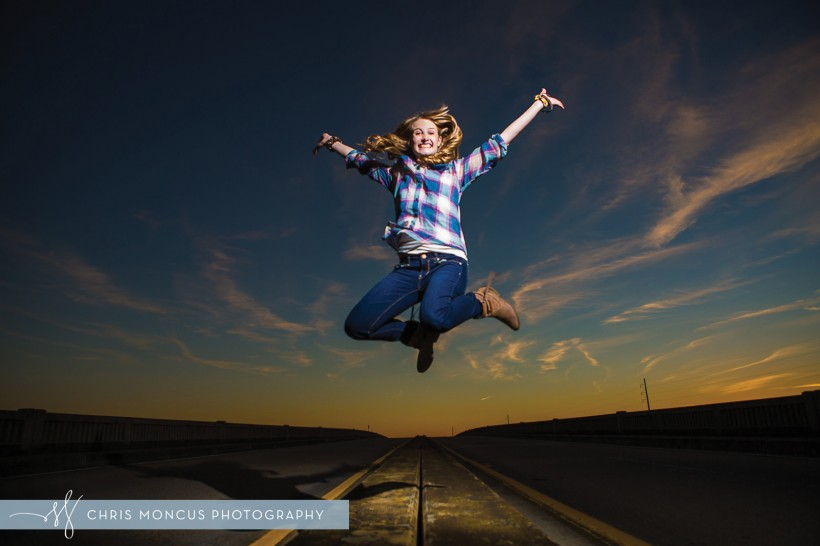 Jumping at Sunset Senior Portraits Photography