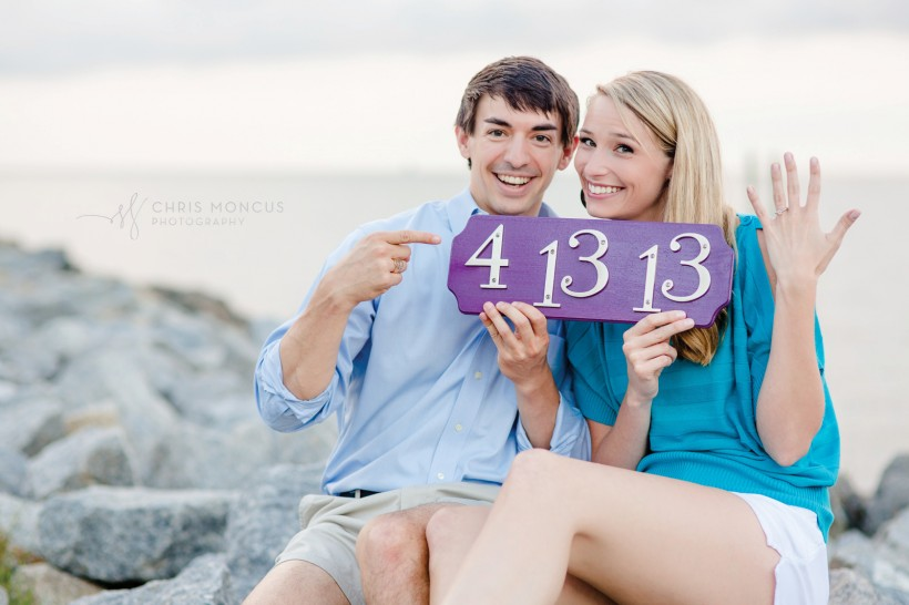 Engagement Photos Couple With Date Plaque