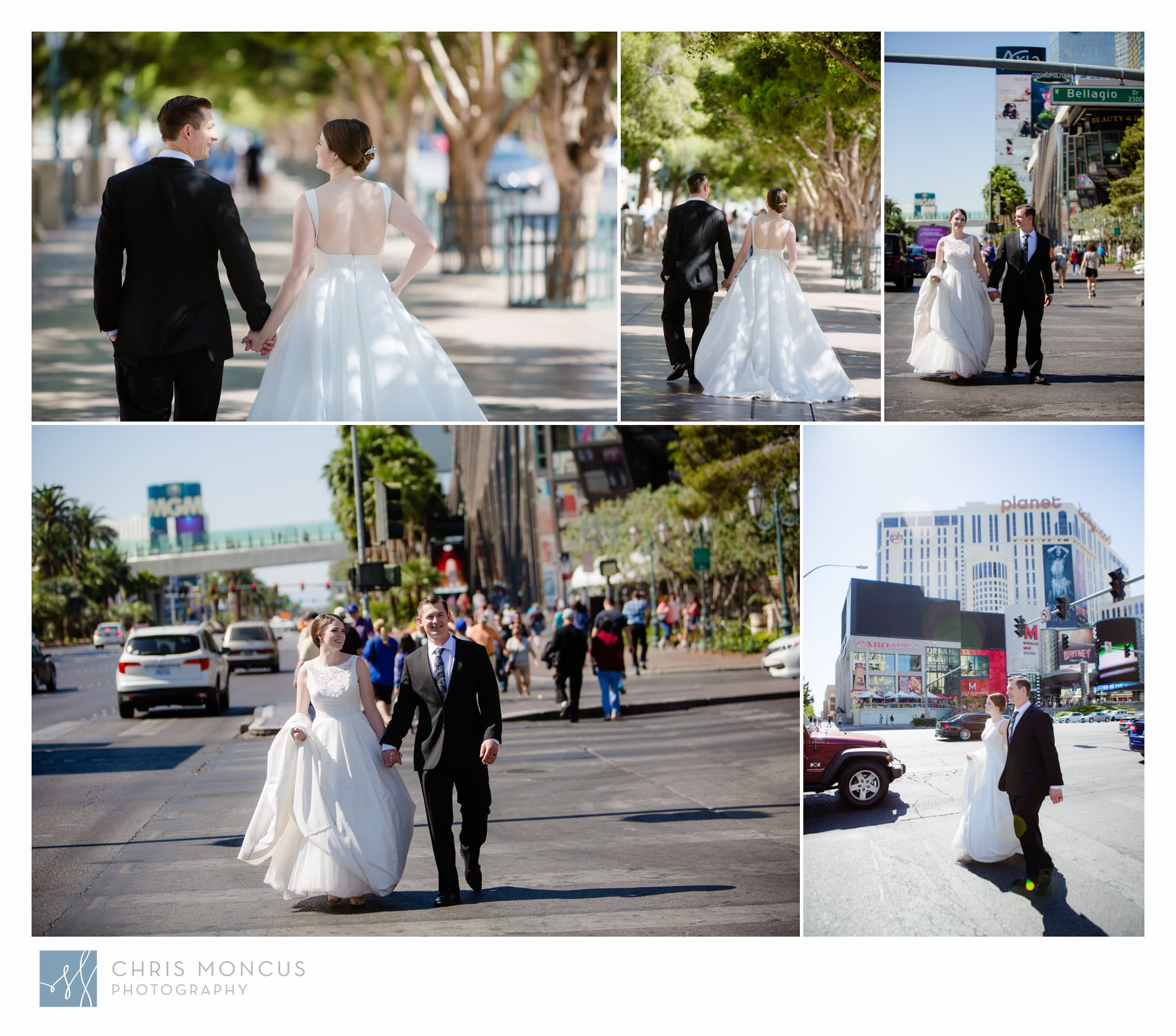 Bride and Groom walking down the Las Vegas Strip