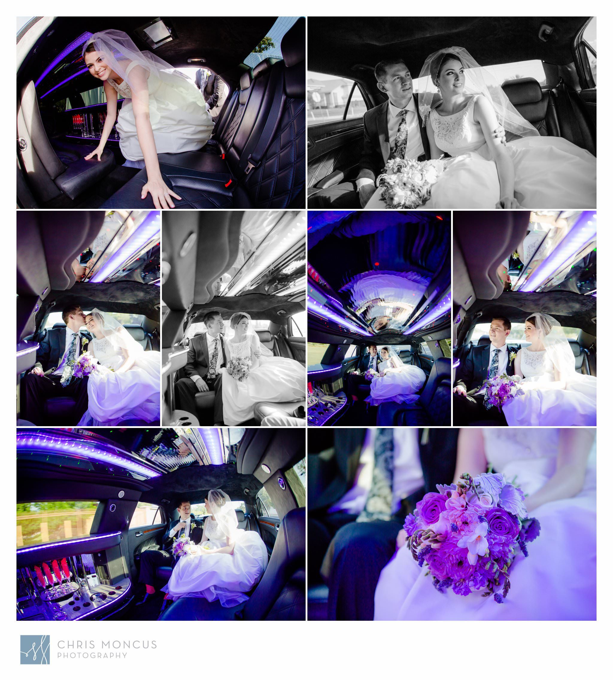 Bride and Groom in Limo Las Vegas Wedding Transportation