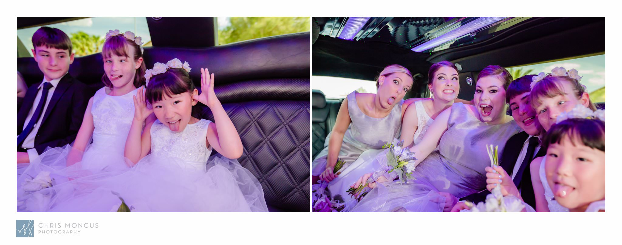 Bride in Limo Las Vegas Wedding Transportation