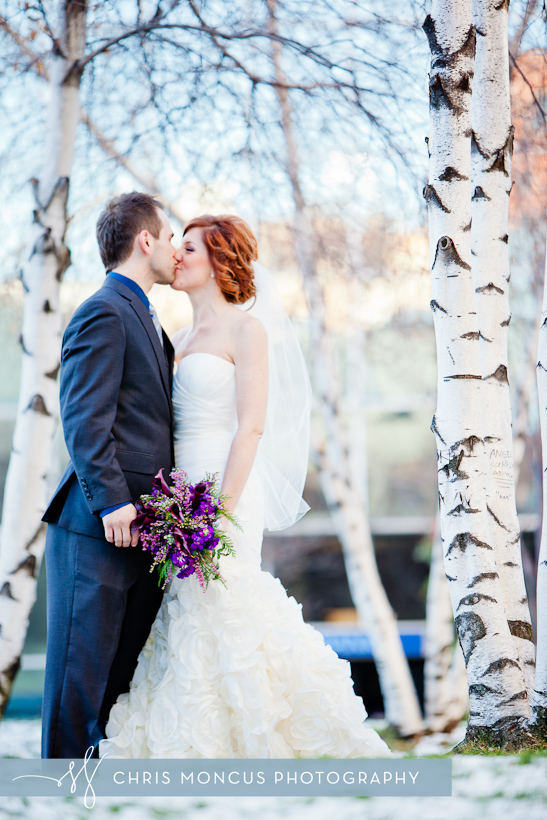 Wedding Portrait in the snow by birch trees