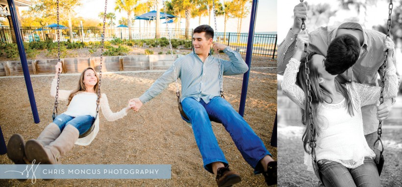 Couple Swinging on Swingset at Engagement Session