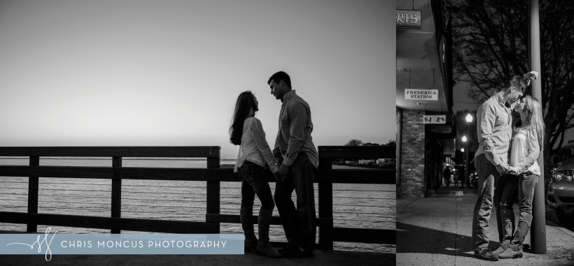 Kissing Under Streetlight at Engagement Session St SImons Island