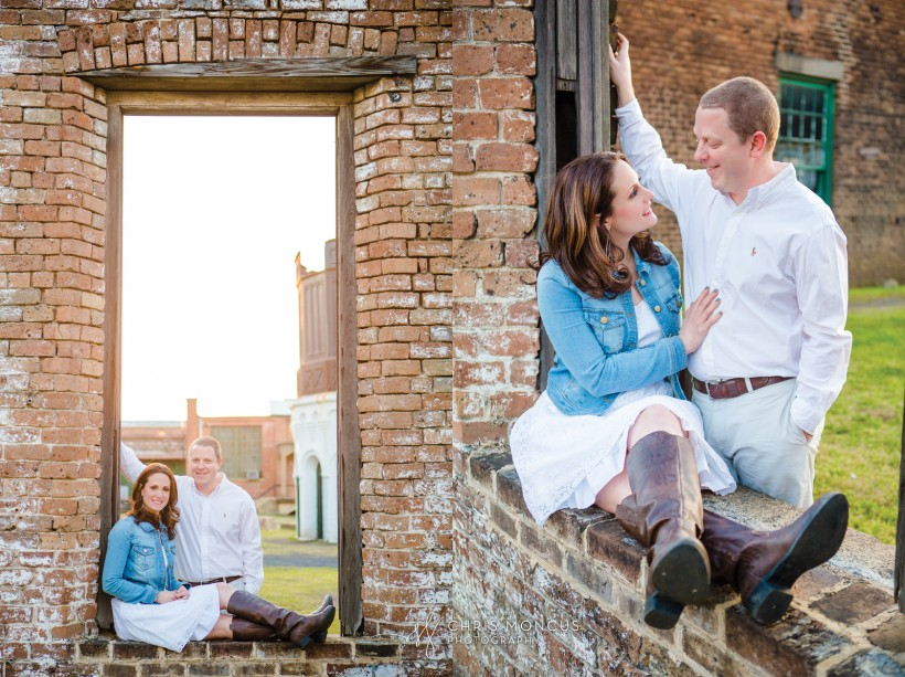 Couple on Brick Wall at Railroad