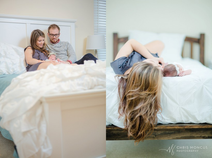 Newborn portrait session on bed St Simons Island