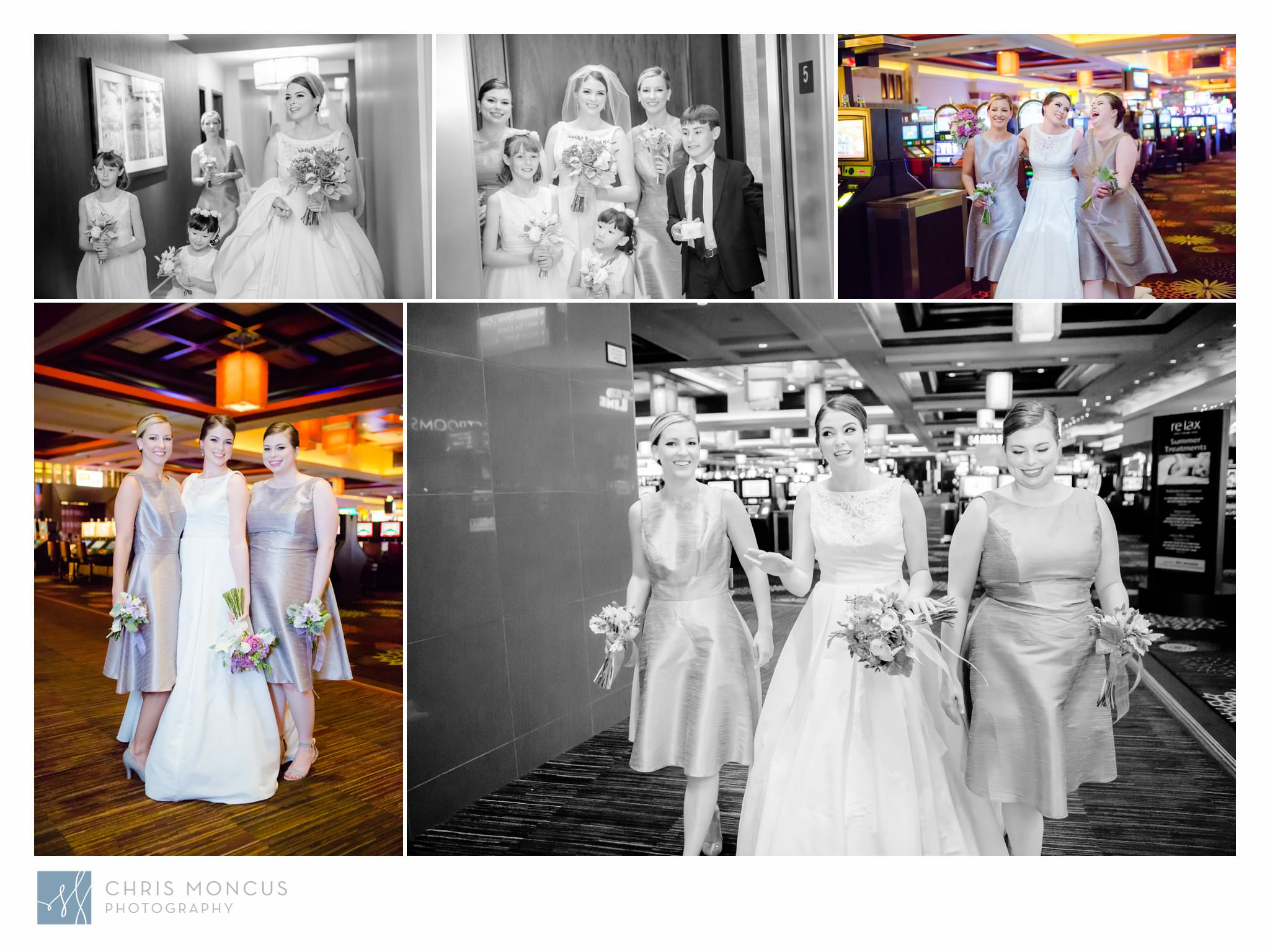 Bride Walking Through Casino in Aliante Casino Las Vegas