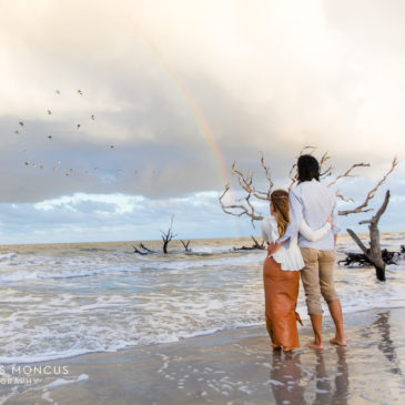 Rainbow over the Ocean at Driftwood Beach Proposal Engagement