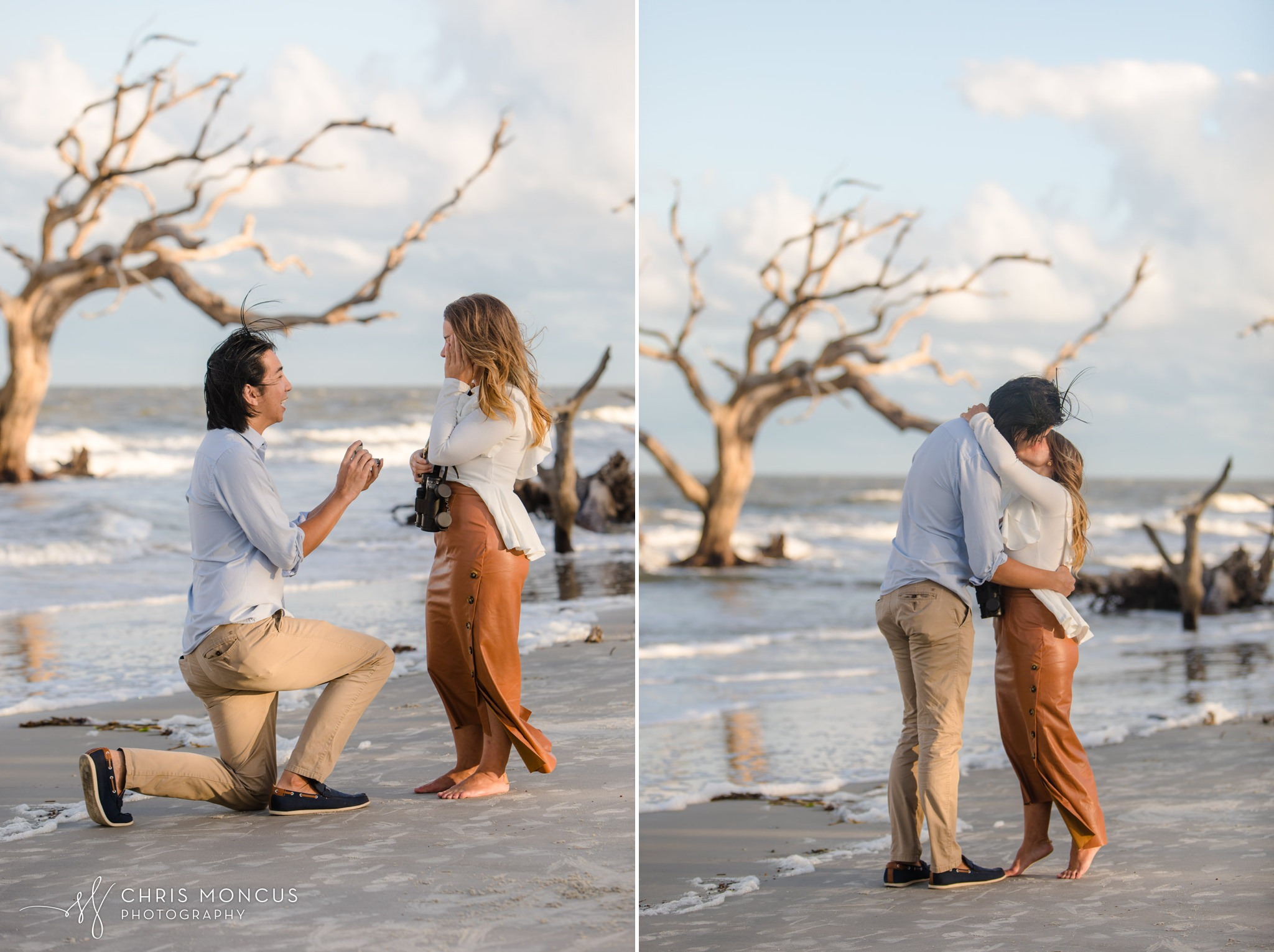 Driftwood Beach Engagement Proposal Jekyll Island