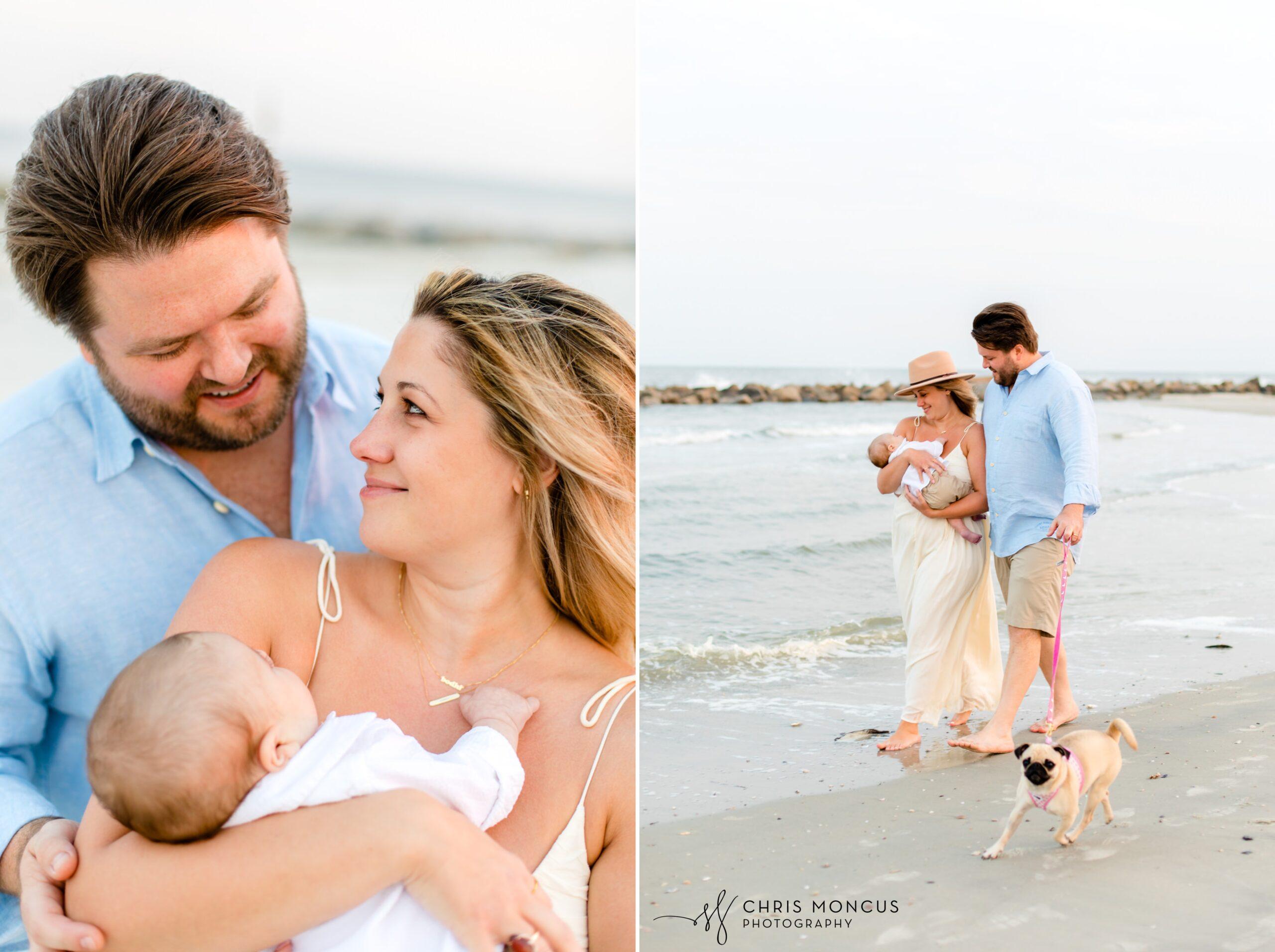 Sunset on Sea Island Family Beach Portraits